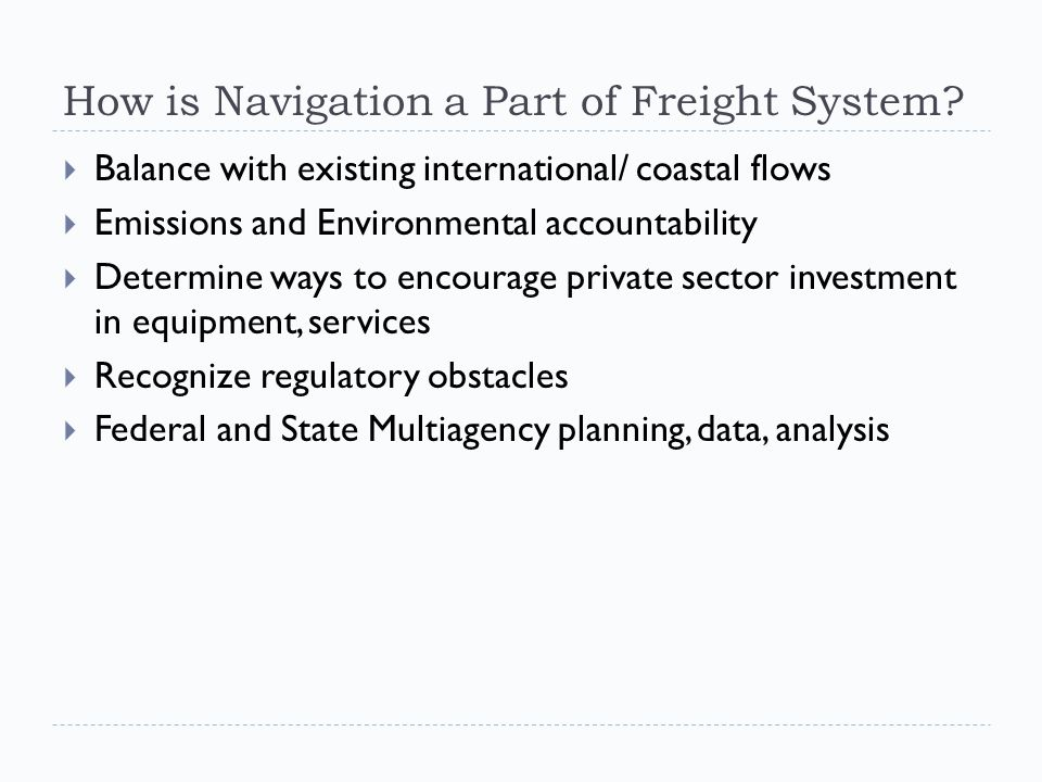How is Navigation a Part of Freight System.