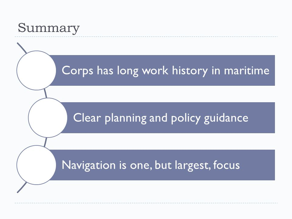 Summary Corps has long work history in maritime Clear planning and policy guidance Navigation is one, but largest, focus