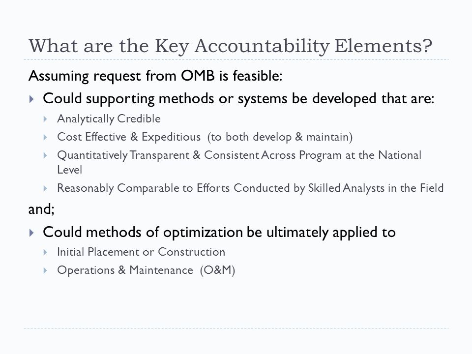 What are the Key Accountability Elements.