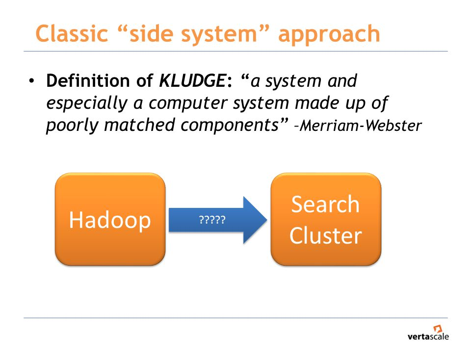 Classic side system approach Definition of KLUDGE: a system and especially a computer system made up of poorly matched components –Merriam-Webster Hadoop Search Cluster Search Cluster