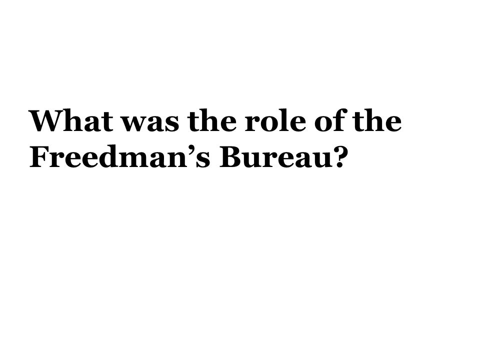 What was the role of the Freedman's Bureau?