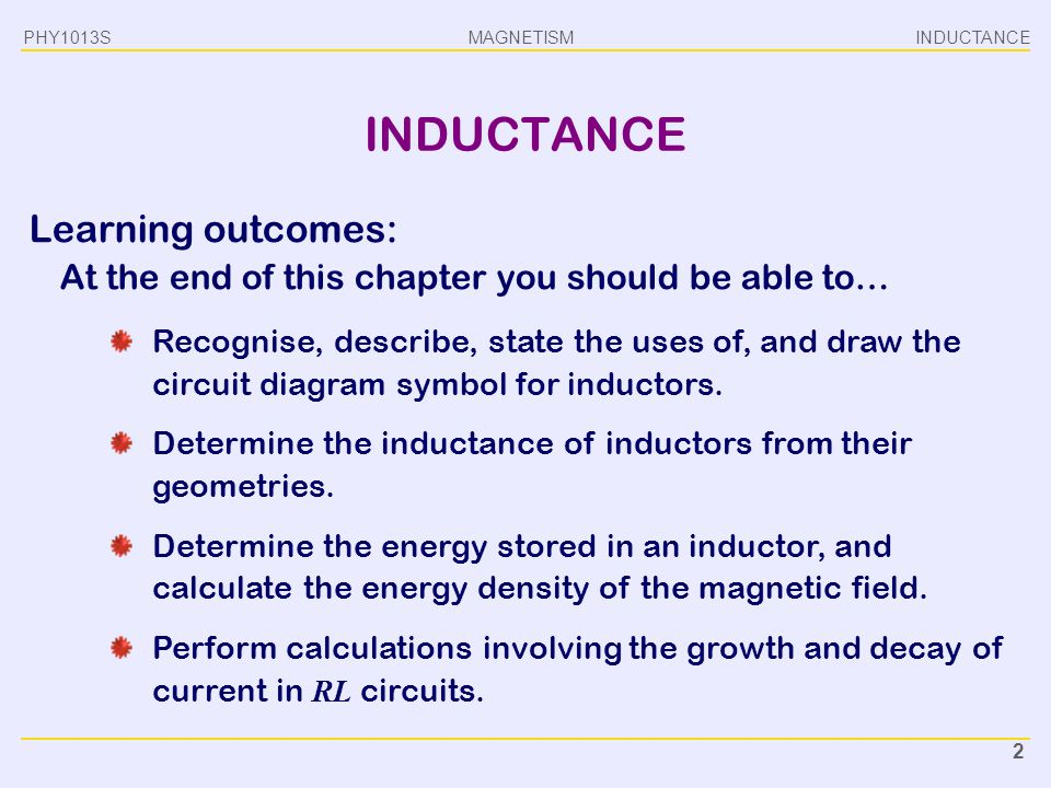 MAGNETISM INDUCTANCEPHY1013S 2 INDUCTANCE Learning outcomes: At the end of this chapter you should be able to… Recognise, describe, state the uses of,