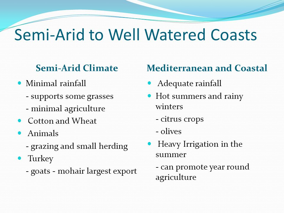 Semi-Arid to Well Watered Coasts Semi-Arid Climate Mediterranean and Coastal Minimal rainfall - supports some grasses - minimal agriculture Cotton and