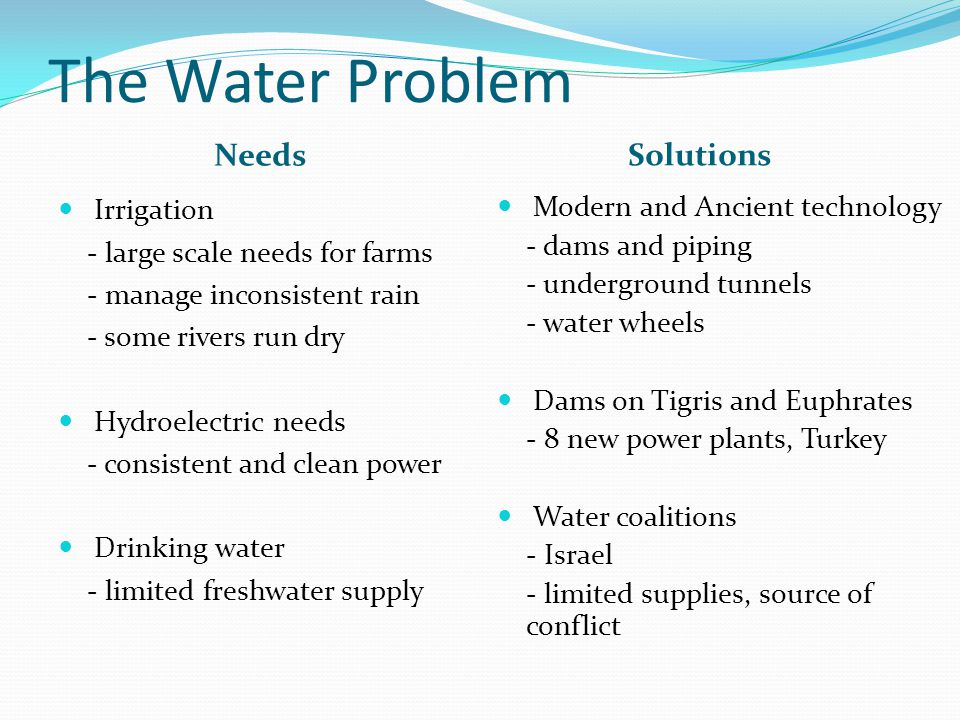 The Water Problem Needs Solutions Irrigation - large scale needs for farms - manage inconsistent rain - some rivers run dry Hydroelectric needs - cons