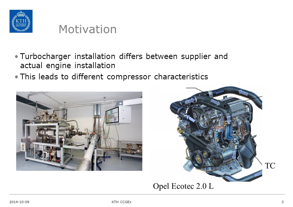 Motivation Turbocharger installation differs between supplier and actual engine installation This leads to different compressor characteristics Opel E