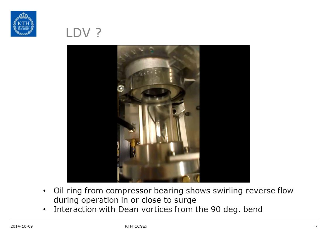 LDV ? Oil ring from compressor bearing shows swirling reverse flow during operation in or close to surge Interaction with Dean vortices from the 90 de