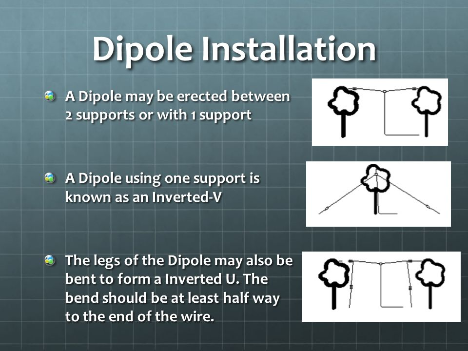 Dipole Installation A Dipole may be erected between 2 supports or with 1 support A Dipole using one support is known as an Inverted-V The legs of the Dipole may also be bent to form a Inverted U.