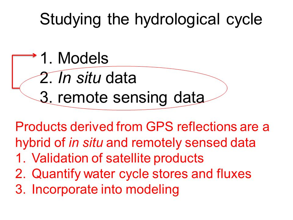 Studying the hydrological cycle 1. Models 2. In situ data 3. remote sensing data Products derived from GPS reflections are a hybrid of in situ and rem