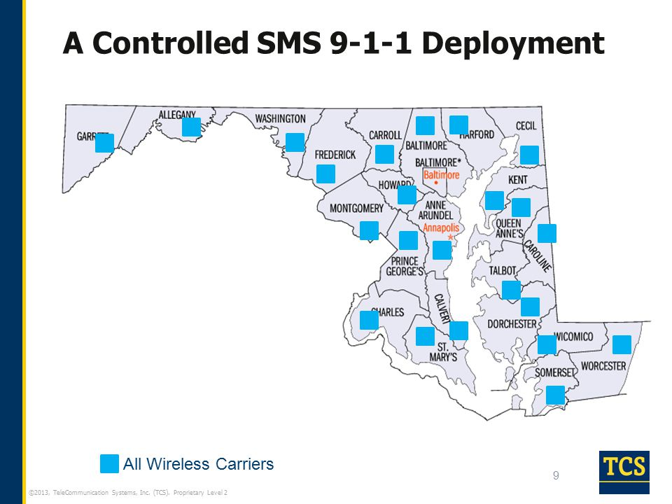 ©2013, TeleCommunication Systems, Inc. (TCS). Proprietary Level 2 A Controlled SMS 9-1-1 Deployment 9 All Wireless Carriers