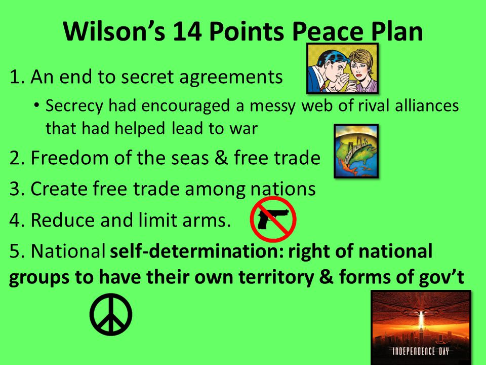 Wilson's 14 Points Peace Plan 1.