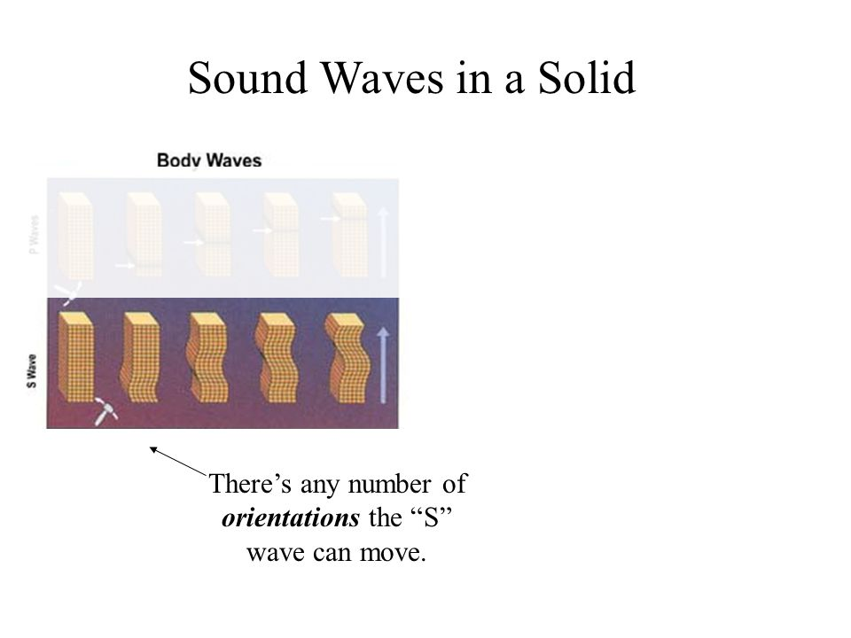 There's any number of orientations the S wave can move. Sound Waves in a Solid