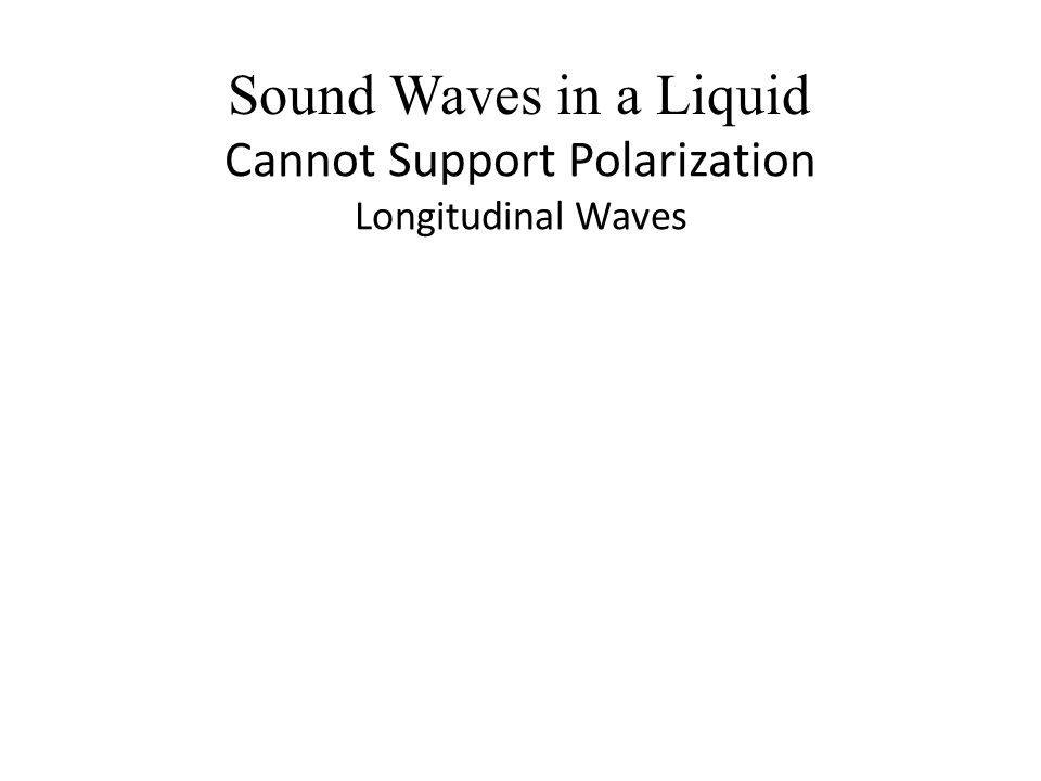 Cannot Support Polarization Longitudinal Waves Sound Waves in a Liquid