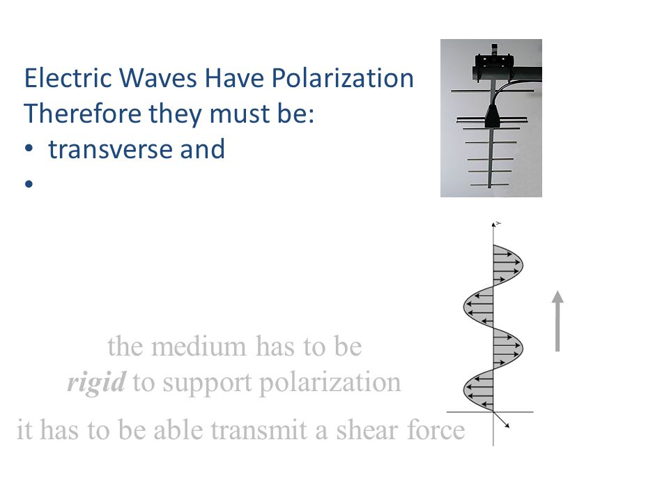 Electric Waves Have Polarization Therefore they must be: transverse and the medium has to be rigid to support polarization it has to be able transmit a shear force