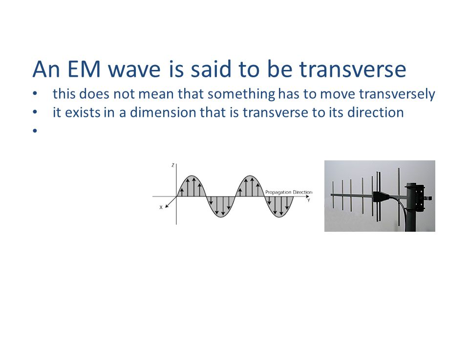 An EM wave is said to be transverse this does not mean that something has to move transversely it exists in a dimension that is transverse to its direction