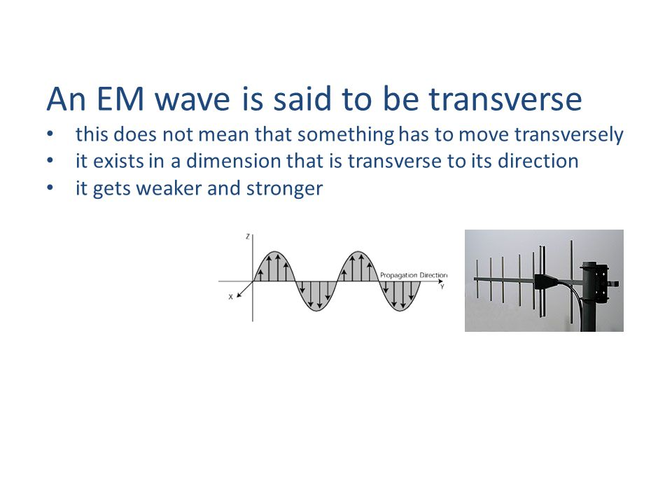 An EM wave is said to be transverse this does not mean that something has to move transversely it exists in a dimension that is transverse to its direction it gets weaker and stronger