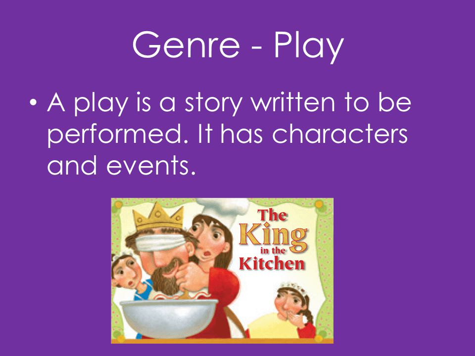 Genre - Play A play is a story written to be performed. It has characters and events.