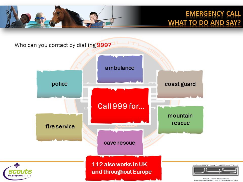 ambulance coast guard mountain rescue police fire service Call 999 for… cave rescue 112 also works in UK and throughout Europe Who can you contact by dialling 999