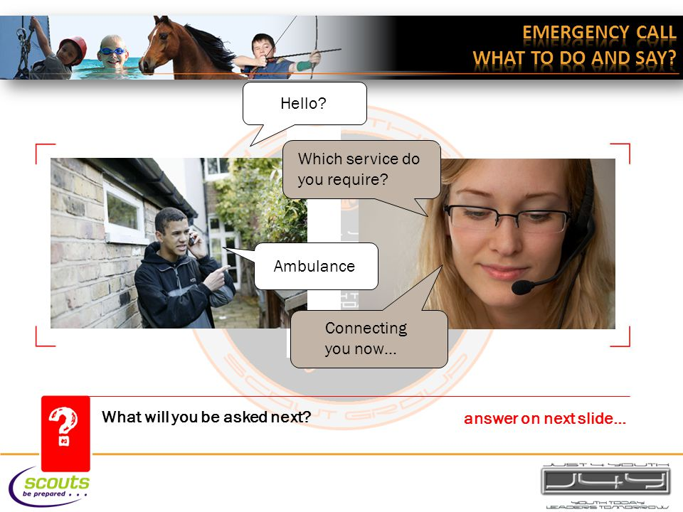 What will you be asked next. answer on next slide… Hello.