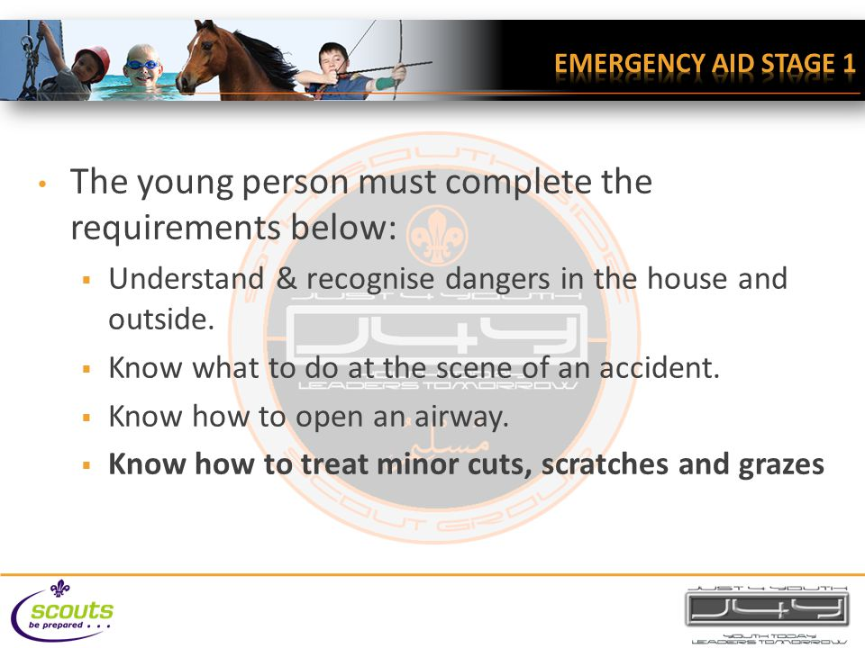 The young person must complete the requirements below:  Understand & recognise dangers in the house and outside.