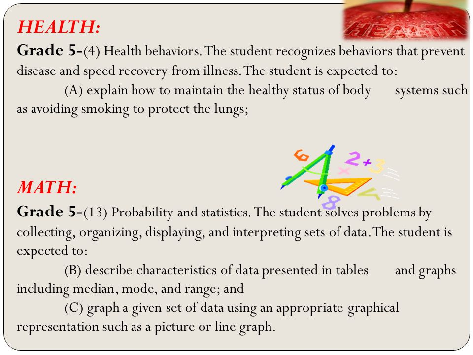 HEALTH: Grade 5- (4) Health behaviors.