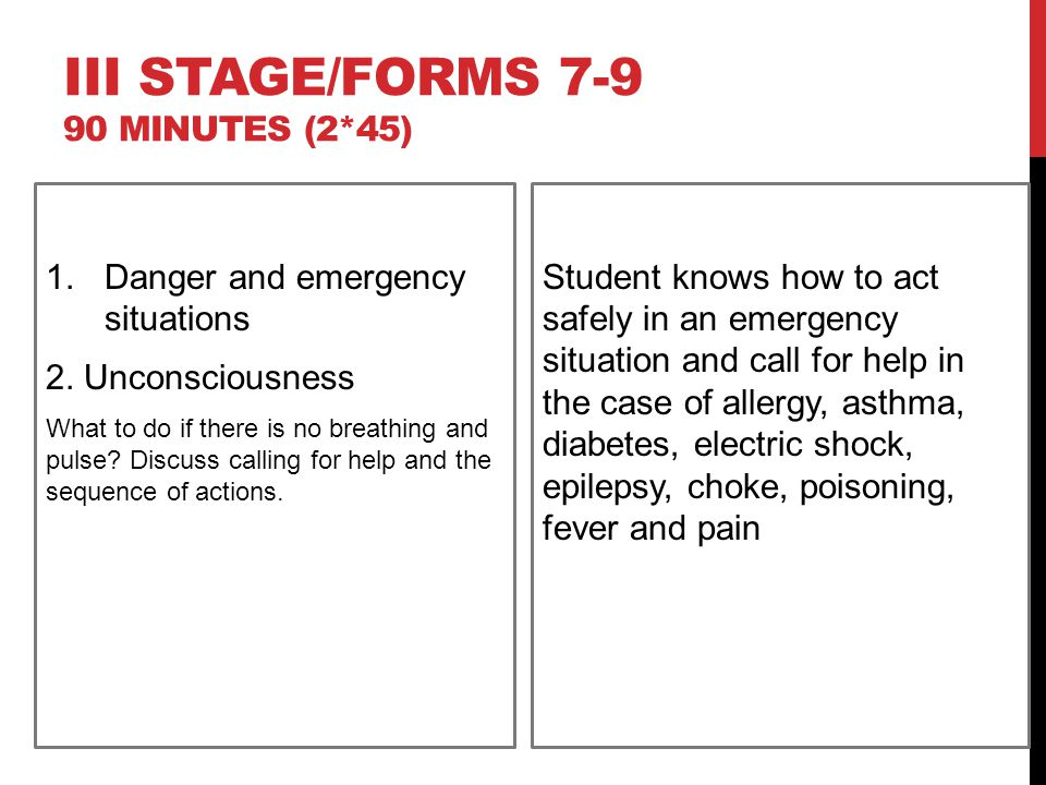 III STAGE/FORMS 7-9 90 MINUTES (2*45) 1.Danger and emergency situations 2.