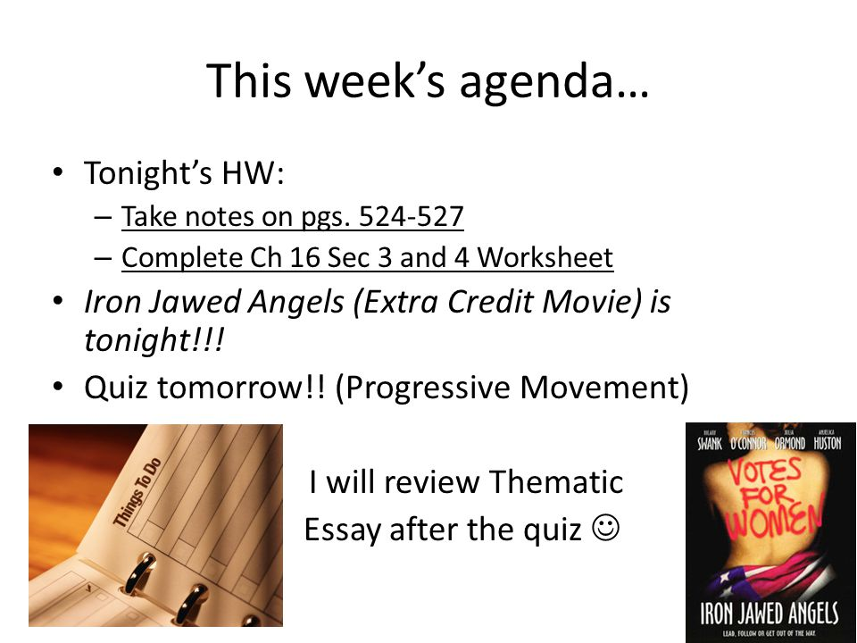 This week's agenda… Tonight's HW: – Take notes on pgs.