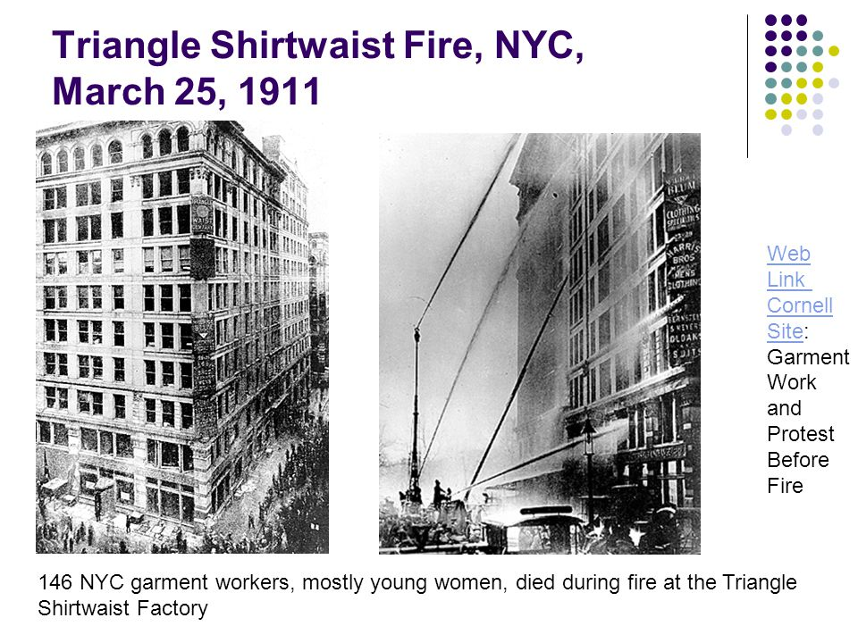 Triangle Shirtwaist Fire, NYC, March 25, 1911 Web Link Cornell SiteSite: Garment Work and Protest Before Fire 146 NYC garment workers, mostly young women, died during fire at the Triangle Shirtwaist Factory