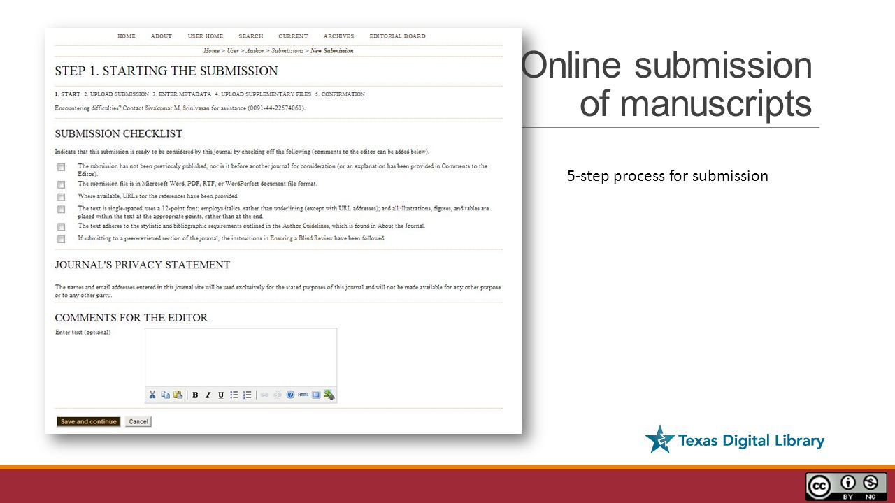 Online submission of manuscripts 5-step process for submission