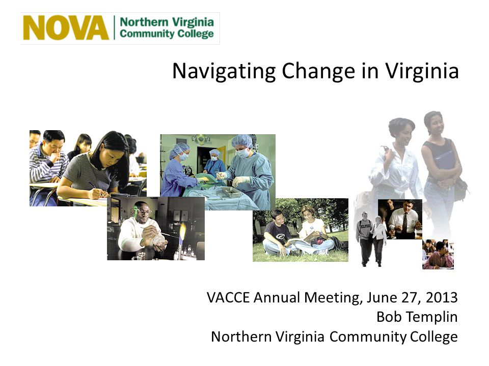 Navigating Change in Virginia VACCE Annual Meeting, June 27, 2013 Bob Templin Northern Virginia Community College