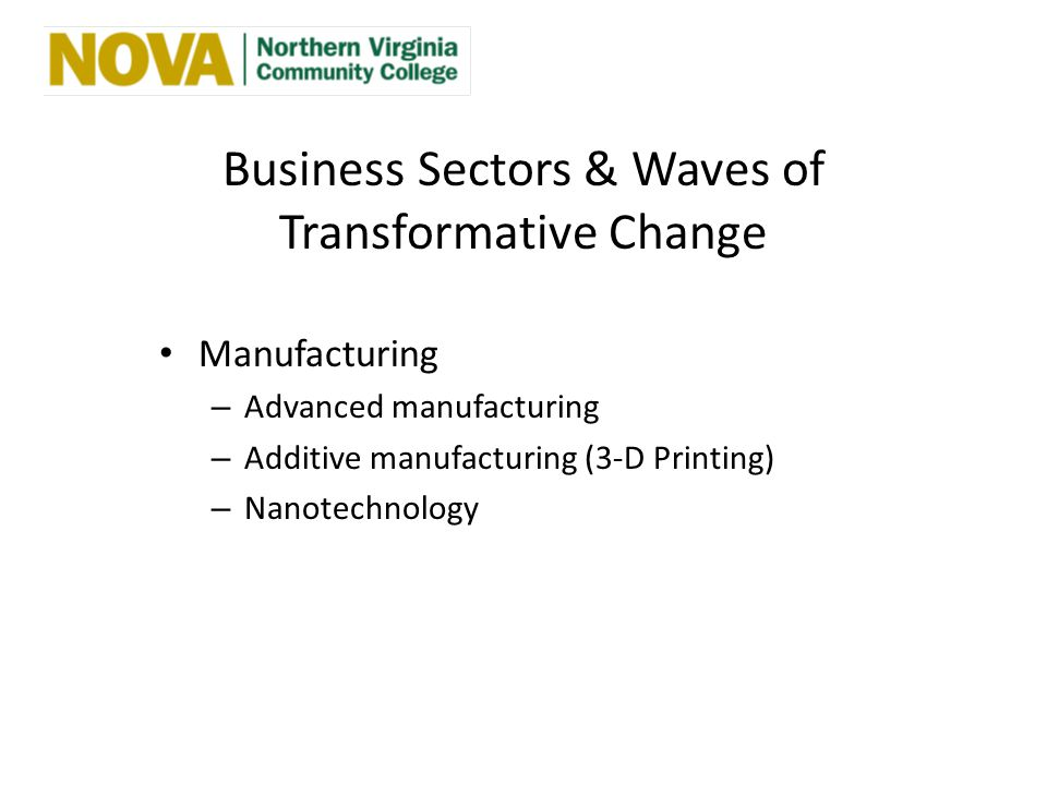 Business Sectors & Waves of Transformative Change Manufacturing – Advanced manufacturing – Additive manufacturing (3-D Printing) – Nanotechnology
