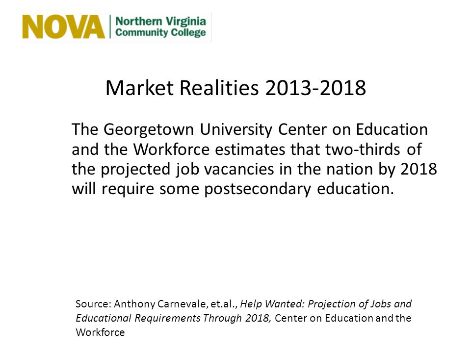 Market Realities 2013-2018 The Georgetown University Center on Education and the Workforce estimates that two-thirds of the projected job vacancies in the nation by 2018 will require some postsecondary education.