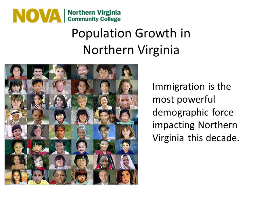 Population Growth in Northern Virginia Immigration is the most powerful demographic force impacting Northern Virginia this decade.