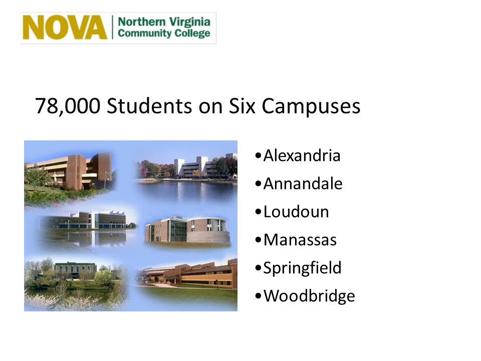 78,000 Students on Six Campuses Alexandria Annandale Loudoun Manassas Springfield Woodbridge
