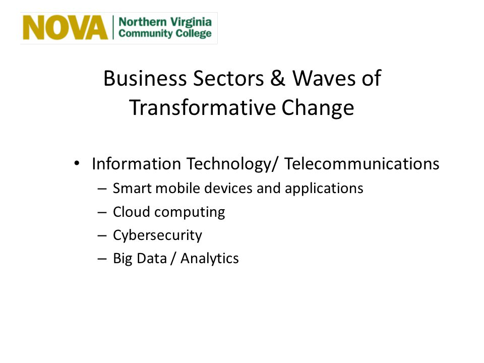 Business Sectors & Waves of Transformative Change Information Technology/ Telecommunications – Smart mobile devices and applications – Cloud computing – Cybersecurity – Big Data / Analytics