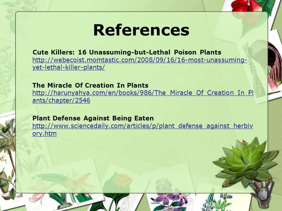 References Cute Killers: 16 Unassuming-but-Lethal Poison Plants http://webecoist.momtastic.com/2008/09/16/16-most-unassuming- yet-lethal-killer-plants/ http://webecoist.momtastic.com/2008/09/16/16-most-unassuming- yet-lethal-killer-plants/ The Miracle Of Creation In Plants http://harunyahya.com/en/books/986/The_Miracle_Of_Creation_In_Pl ants/chapter/2546 http://harunyahya.com/en/books/986/The_Miracle_Of_Creation_In_Pl ants/chapter/2546 Plant Defense Against Being Eaten http://www.sciencedaily.com/articles/p/plant_defense_against_herbiv ory.htm http://www.sciencedaily.com/articles/p/plant_defense_against_herbiv ory.htm