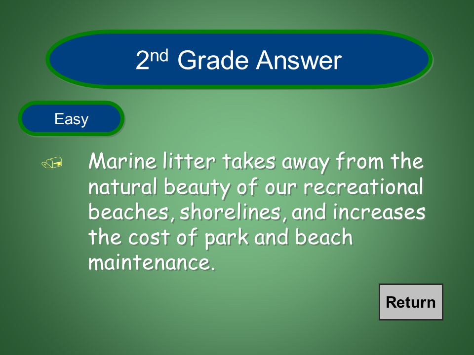 How does marine litter affect the beaches and shore lines? 2 nd Grade Question Easy END