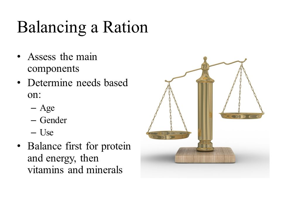 Balancing a Ration Assess the main components Determine needs based on: – Age – Gender – Use Balance first for protein and energy, then vitamins and m