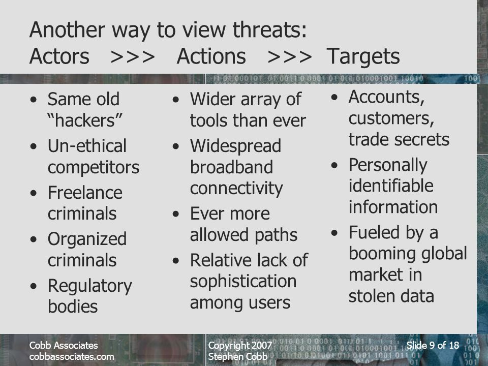 Cobb Associates cobbassociates.com Copyright 2007 Stephen Cobb Slide 9 of 18 Another way to view threats: Actors >>> Actions >>> Targets Same old hackers Un-ethical competitors Freelance criminals Organized criminals Regulatory bodies Wider array of tools than ever Widespread broadband connectivity Ever more allowed paths Relative lack of sophistication among users Accounts, customers, trade secrets Personally identifiable information Fueled by a booming global market in stolen data