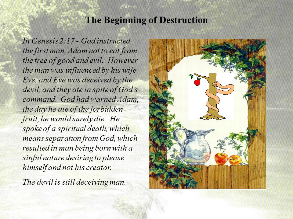 In Genesis 2:17 - God instructed the first man, Adam not to eat from the tree of good and evil. However the man was influenced by his wife Eve, and Ev