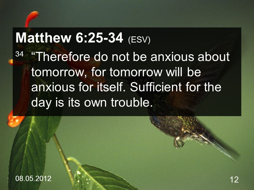 08.05.2012 12 Matthew 6:25-34 (ESV) 34 Therefore do not be anxious about tomorrow, for tomorrow will be anxious for itself.