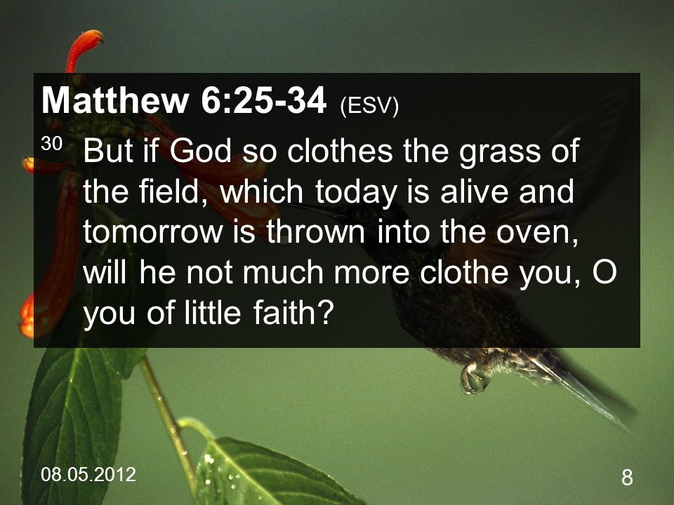 08.05.2012 39 Psalm 37:18-19 (ESV) 18 The Lord knows the days of the blameless, and their heritage will remain forever;