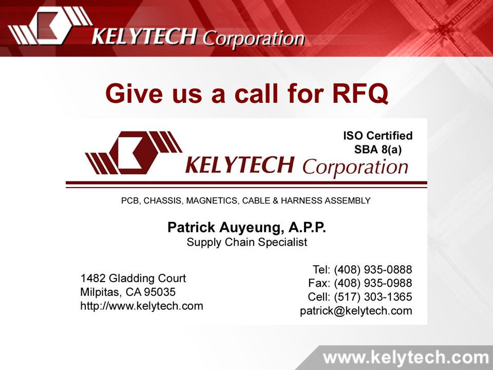Give us a call for RFQ