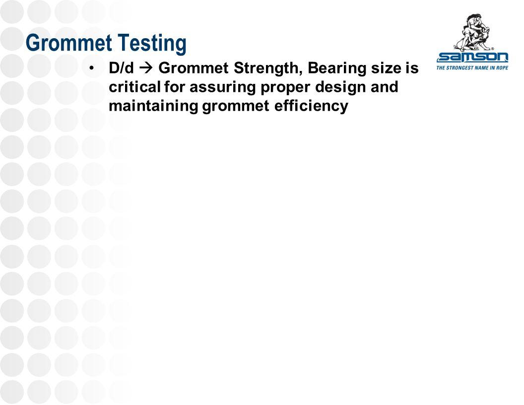 Grommet Testing D/d  Grommet Strength, Bearing size is critical for assuring proper design and maintaining grommet efficiency