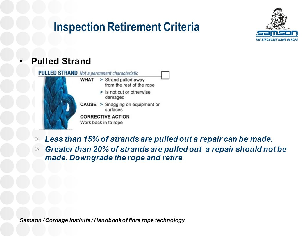 Inspection Retirement Criteria Pulled Strand >Less than 15% of strands are pulled out a repair can be made. >Greater than 20% of strands are pulled ou