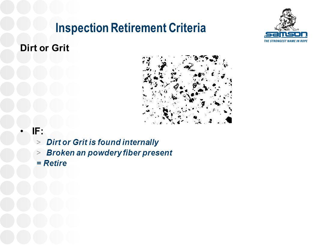 Inspection Retirement Criteria Dirt or Grit IF: >Dirt or Grit is found internally >Broken an powdery fiber present = Retire