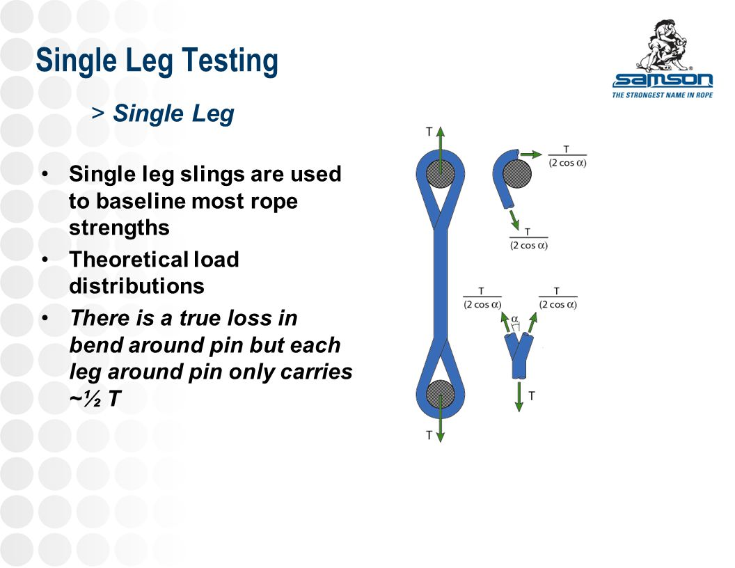 Single Leg Testing >Single Leg Testing Straight Pull D:d = 8, 4, 1 D/d = 1 did not show significant strength loss, however break occurred at the back of the eye (on the pin)
