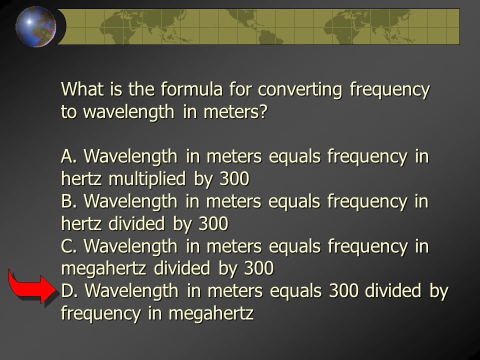 What is the formula for converting frequency to wavelength in meters.