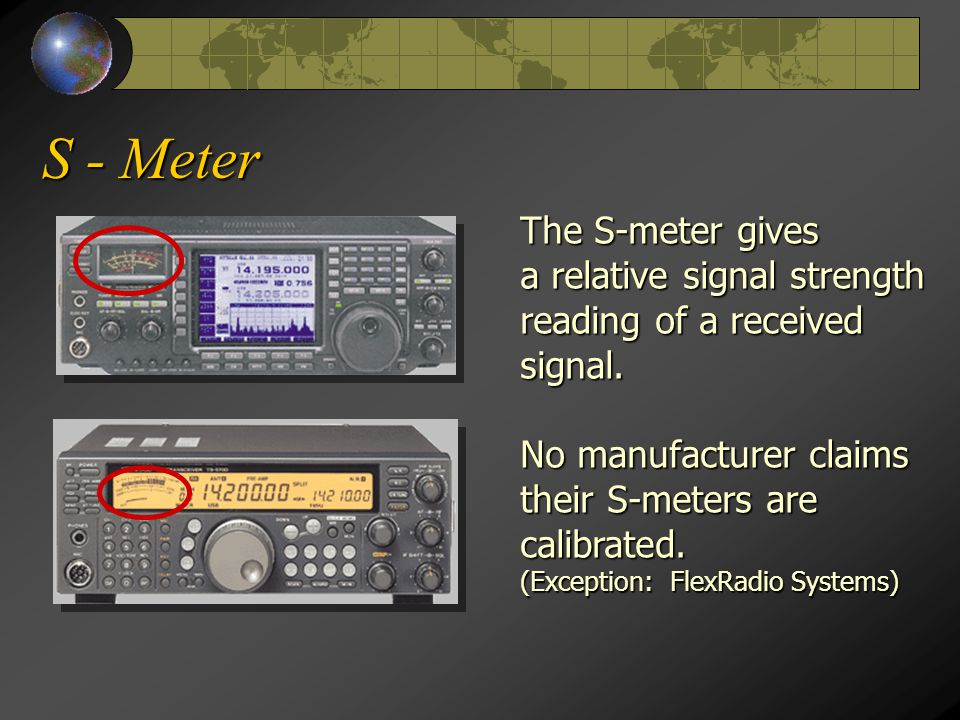 S - Meter The S-meter gives a relative signal strength reading of a received signal.