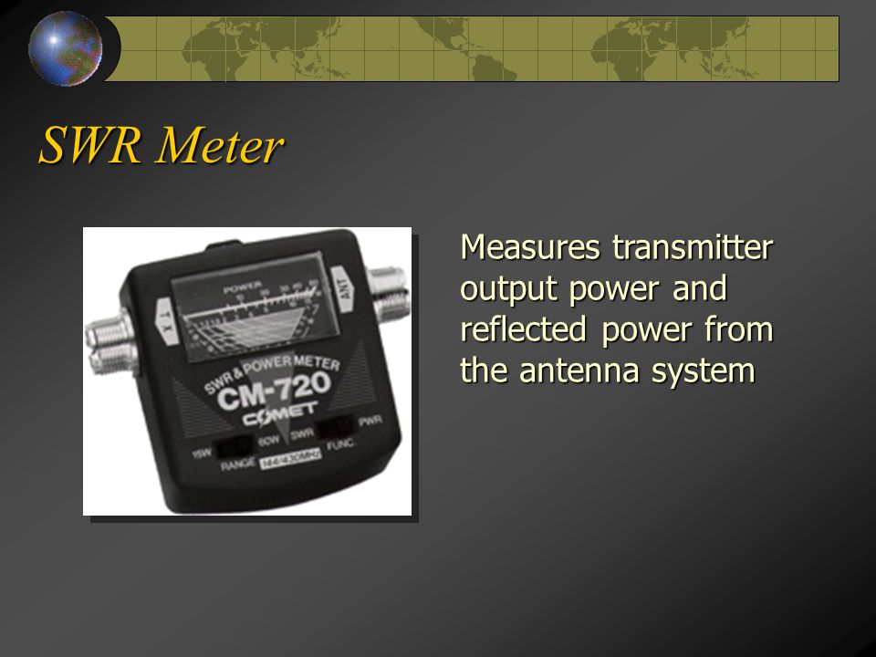 SWR Meter Measures transmitter output power and reflected power from the antenna system
