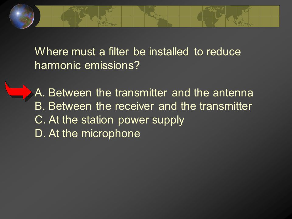 Where must a filter be installed to reduce harmonic emissions.